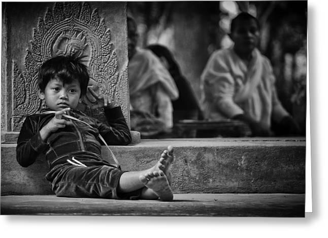 Angkor Wat Temple Boy 1 Greeting Card by David Longstreath