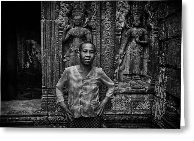 Angkor Wat Temple Nun Greeting Card by David Longstreath
