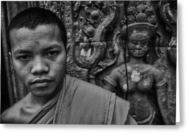 Angkor Watbuddhist Monk Portrait Greeting Card by David Longstreath