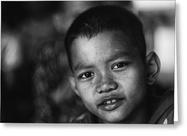 Angkor Wat Temple Boy Greeting Card by David Longstreath