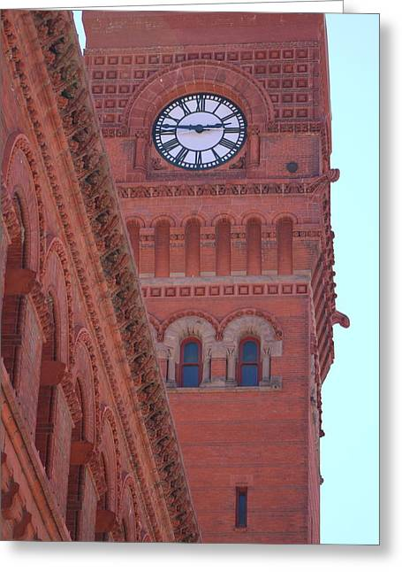 Angled View Of Clocktower At Dearborn Station Chicago Greeting Card