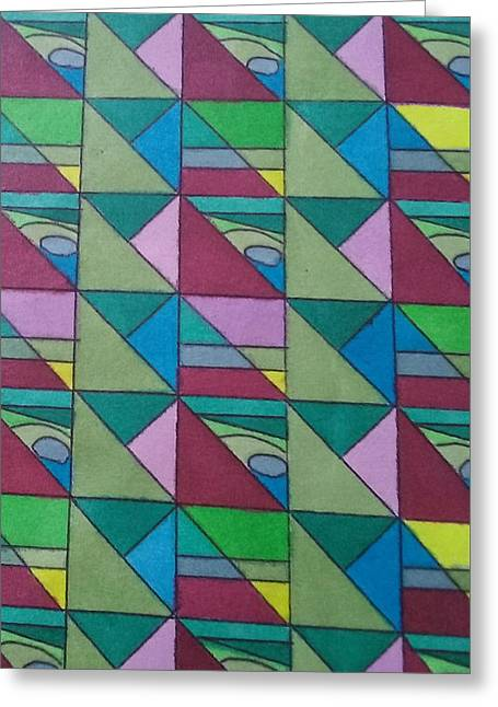 Angles And Triangles Greeting Card by Modern Metro Patterns and Textiles