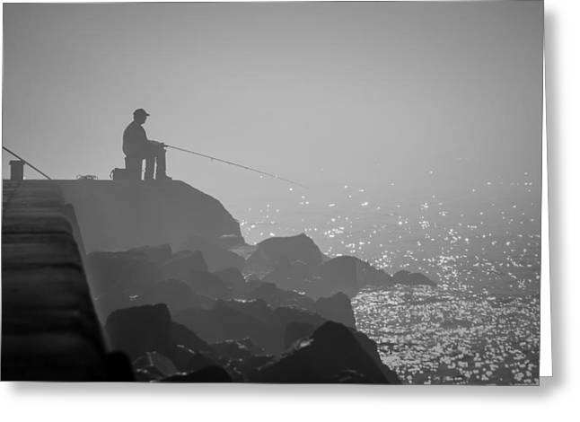 Angling In A Fog  Greeting Card