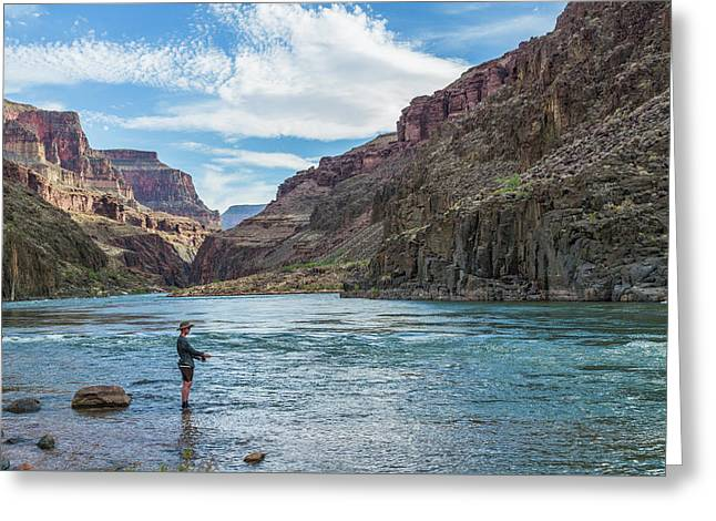Angling On The Colorado Greeting Card by Alan Toepfer