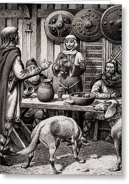 Anglo Saxon Feast Greeting Card by Pat Nicolle