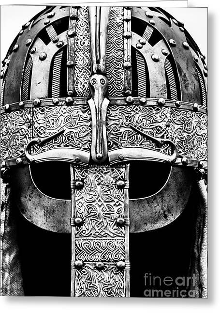 Anglo Saxon Helmet Monochrome Greeting Card by Tim Gainey