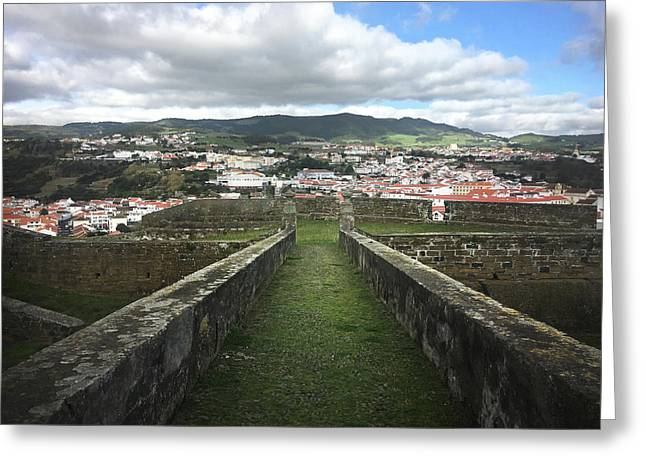 Angra Do Heroismo From The Fortress Of Sao Joao Baptista Greeting Card