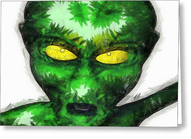Angry Alien Greeting Card by Raphael Terra