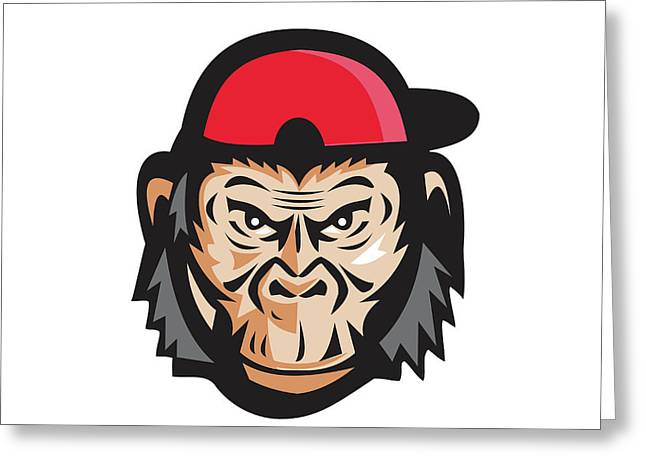 Angry Chimpanzee Head Baseball Cap Retro Greeting Card