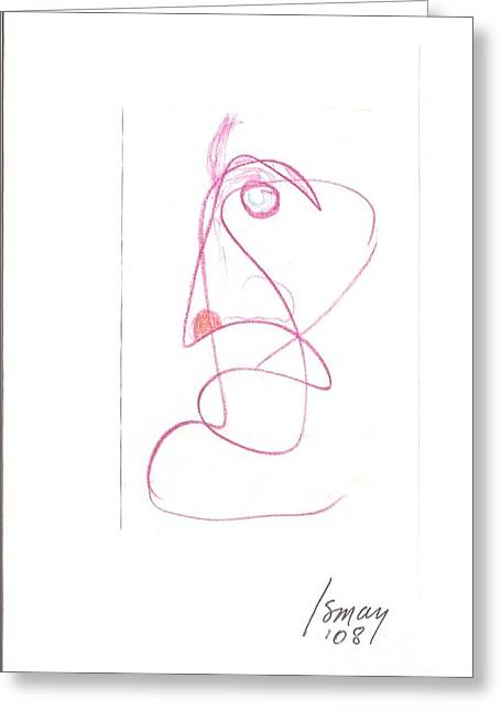Angry Face - Gesture Drawing Greeting Card by Rod Ismay