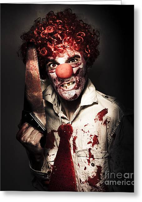 Angry Horror Clown Holding Butcher Saw In Darkness Greeting Card