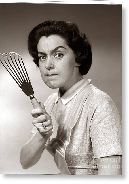 Angry Housewife, C.1950s-60s Greeting Card