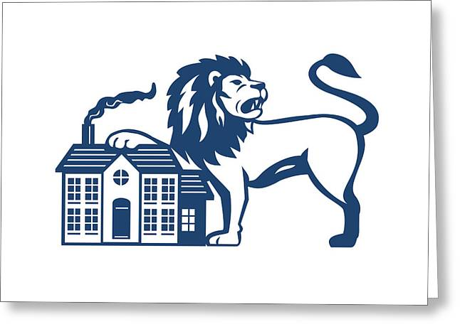 Angry Lion Paw On House Isolated Retro Greeting Card by Aloysius Patrimonio