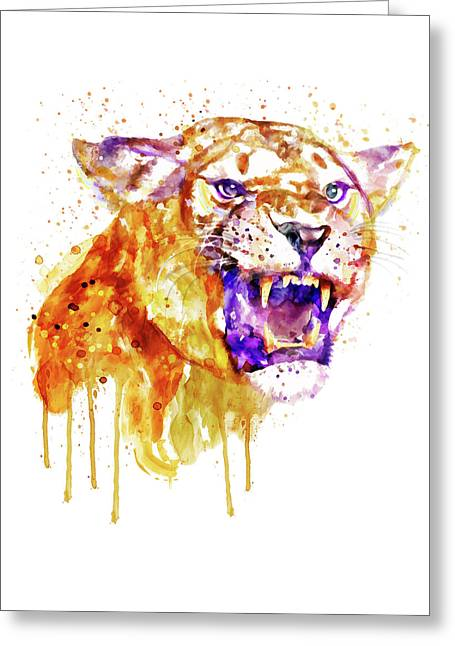 Angry Lioness Greeting Card by Marian Voicu