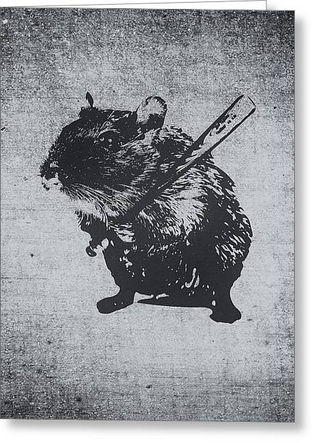 Angry Street Art Mouse  Hamster Baseball Edit  Greeting Card by Philipp Rietz