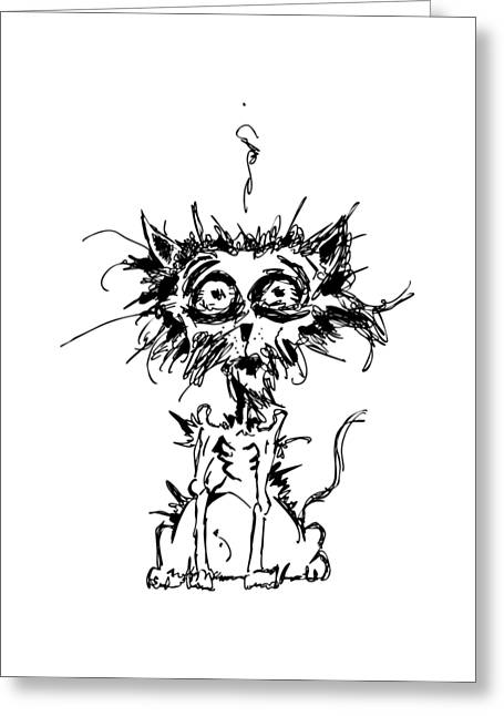 Animals Love Drawings Greeting Cards - Angst Cat Greeting Card by Nicholas Ely