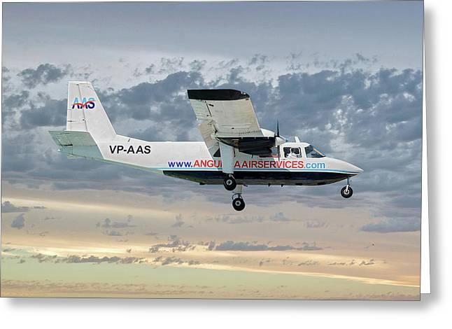 Anguilla Air Services Britten-norman Bn-2a-26 Islander 114 Greeting Card
