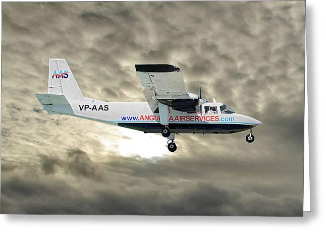 Anguilla Air Services Britten-norman Bn-2a-26 Islander 115 Greeting Card