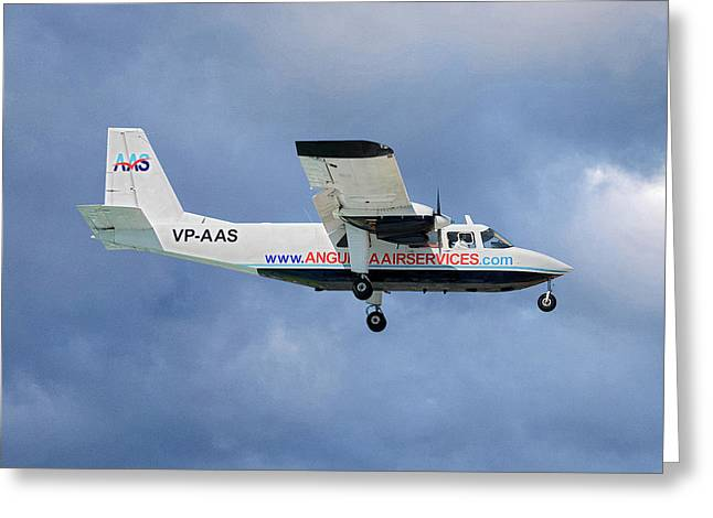 Anguilla Air Services Britten-norman Bn-2a-26 Islander 117 Greeting Card