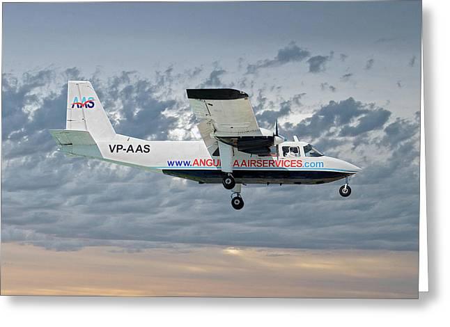 Anguilla Air Services Britten-norman Bn-2a-26 Islander 113 Greeting Card