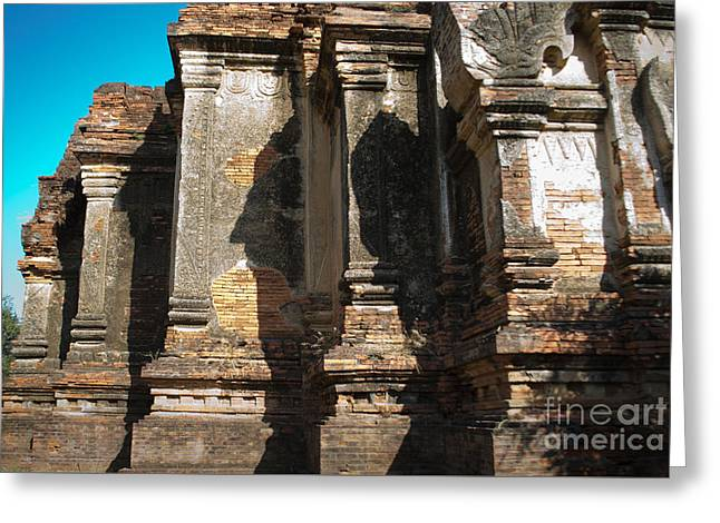 Angular Corner Of Temple In Burma With Sunny Blue Sky Greeting Card by Jason Rosette