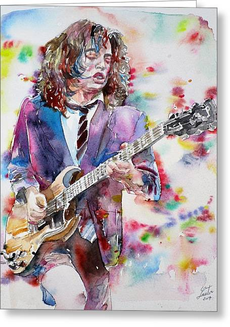 Angus Young - Watercolor Portrait Greeting Card