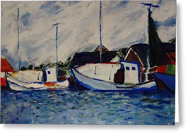 Anholt Denmark Harbor View Greeting Card