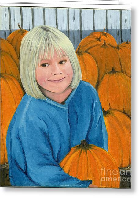 Greeting Card featuring the painting Ani In The Pumpkin Patch by Gail Finn