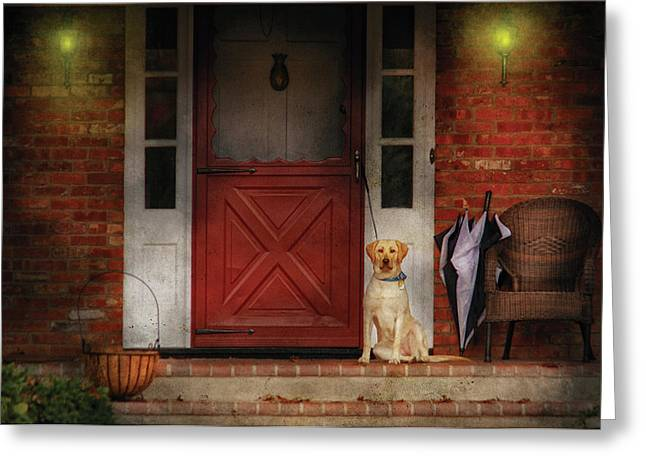Animal - Dog - Waiting For My Master Greeting Card by Mike Savad