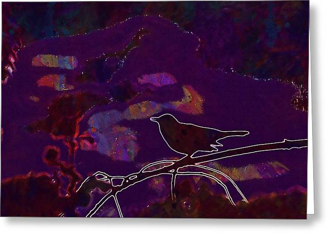 Greeting Card featuring the digital art Animal Bird Dark Nature Silhouette  by PixBreak Art