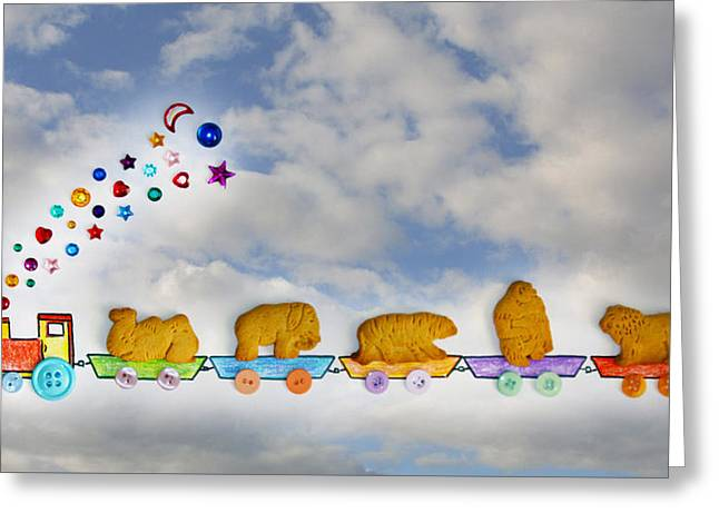Animal Cracker Train Greeting Card by Diana Haronis