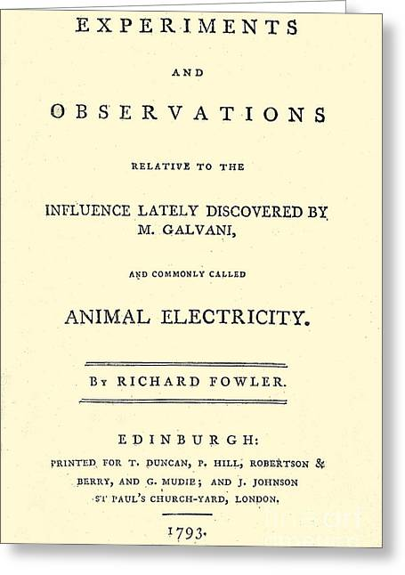 Animal Electricity, Title Page Greeting Card by Wellcome Images