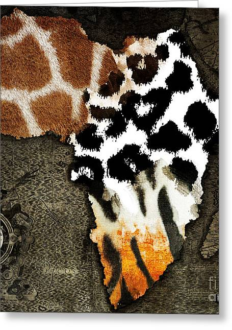 Love The Animal Paintings Greeting Cards - Animal Fur Map of Africa Greeting Card by Mindy Sommers