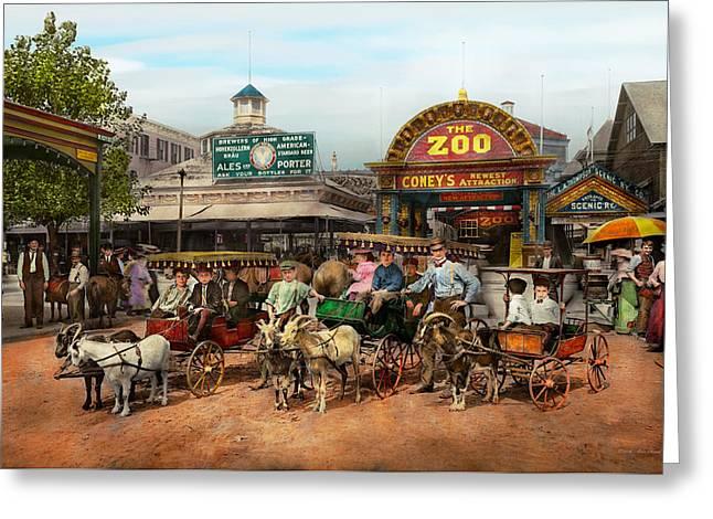 Animal - Goats - Coney Island Ny - Kid Rides 1904 Greeting Card by Mike Savad