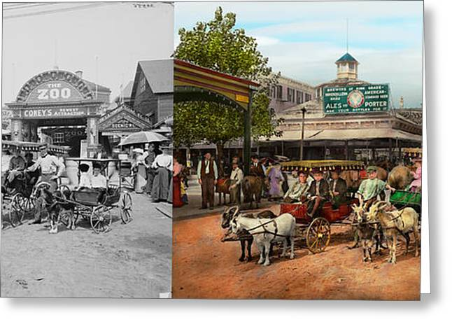 Animal - Goats - Coney Island Ny - Kid Rides 1904 Side By Side Greeting Card by Mike Savad