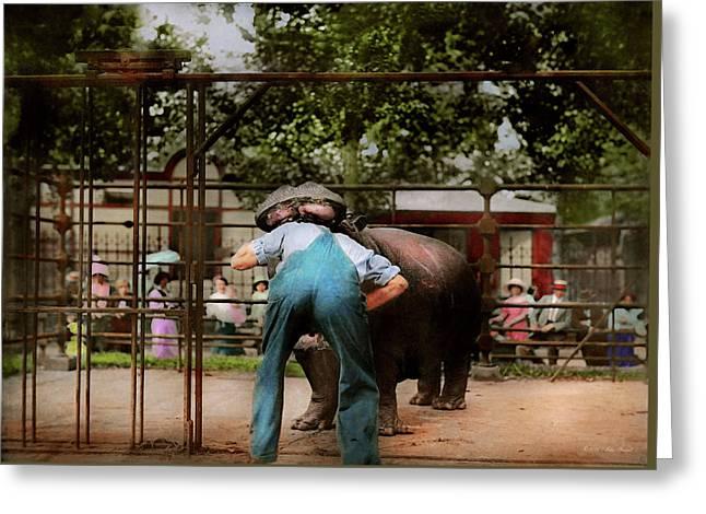 Animal - Hippo - Stupid Human Tricks 1910 Greeting Card