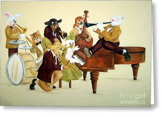 Animal Jazz Band Greeting Card