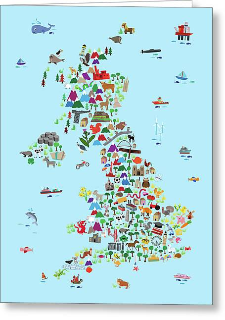 Animal Map Of Great Britain And Ni For Children And Kids Greeting Card