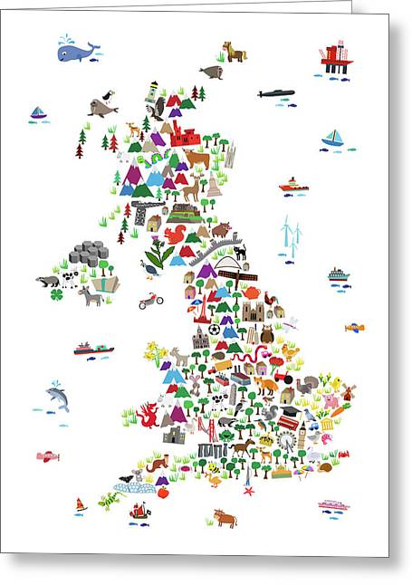 Animal Map Of Great Britain For Children And Kids Greeting Card
