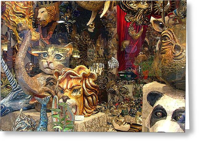 Animal Masks From Venice Greeting Card by Mindy Newman
