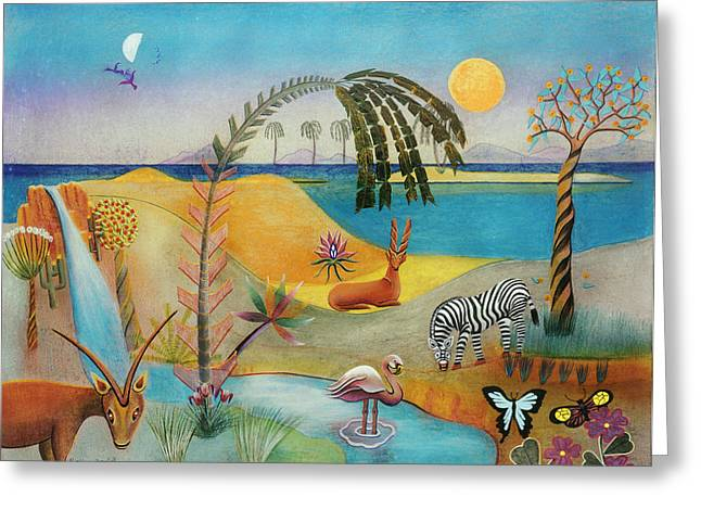 Animal Paradise Greeting Card by Sally Appleby