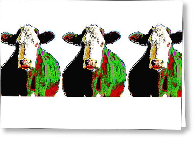 Animals Cows Three Pop Art Cows Warhol Style Greeting Card by Ann Powell