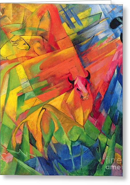 Bull Riders Greeting Cards - Animals in a Landscape Greeting Card by Franz Marc