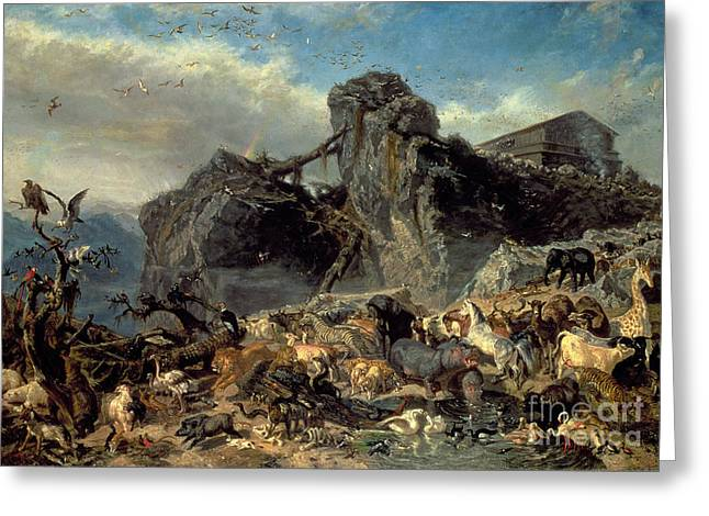 Animals Leaving The Ark, Mount Ararat  Greeting Card by Filippo Palizzi