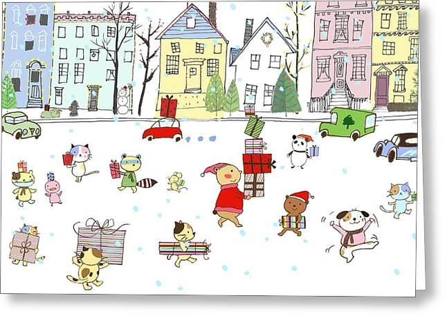 Animals With Gifts In City Greeting Card by Gillham Studios
