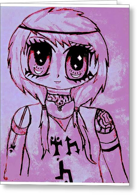 Anime Girl With Pigtails Greeting Card by Denise Honaker