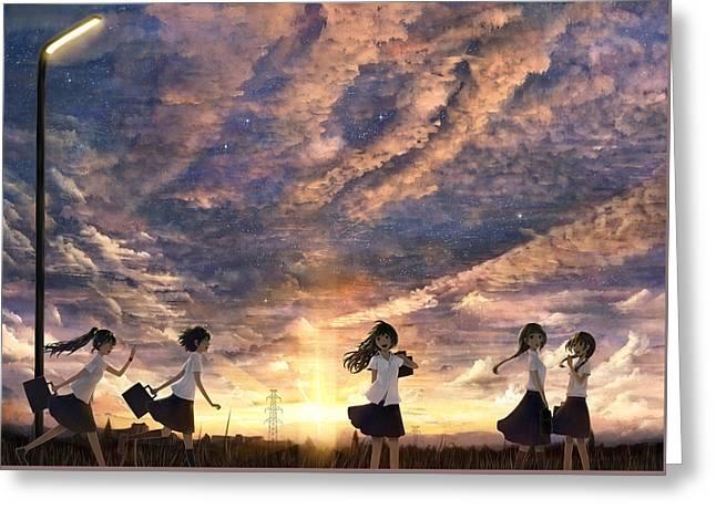 Anime Girls Anime Schoolgirls                   Greeting Card by F S