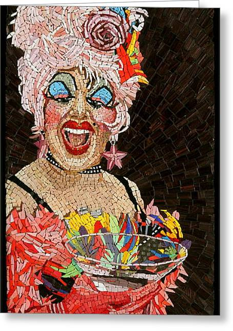 Mosaic Portraits Mixed Media Greeting Cards - Anita Cocktail Greeting Card by Michael Kruzich