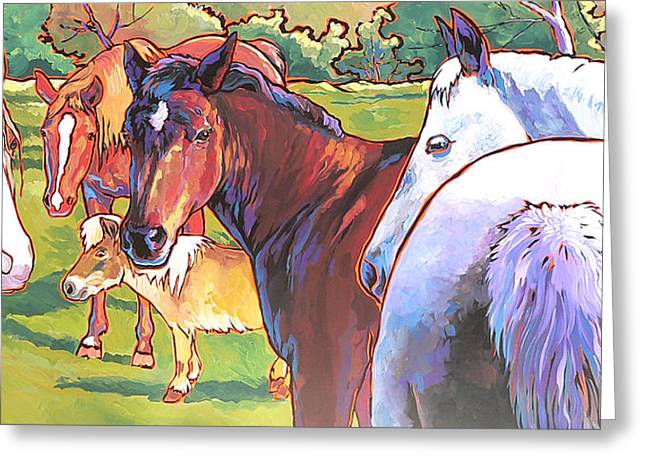 Greeting Card featuring the painting Anjelica Huston's Horses by Nadi Spencer