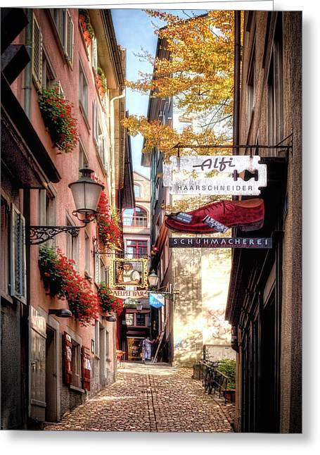 Ankengasse Street Zurich Greeting Card by Jim Hill